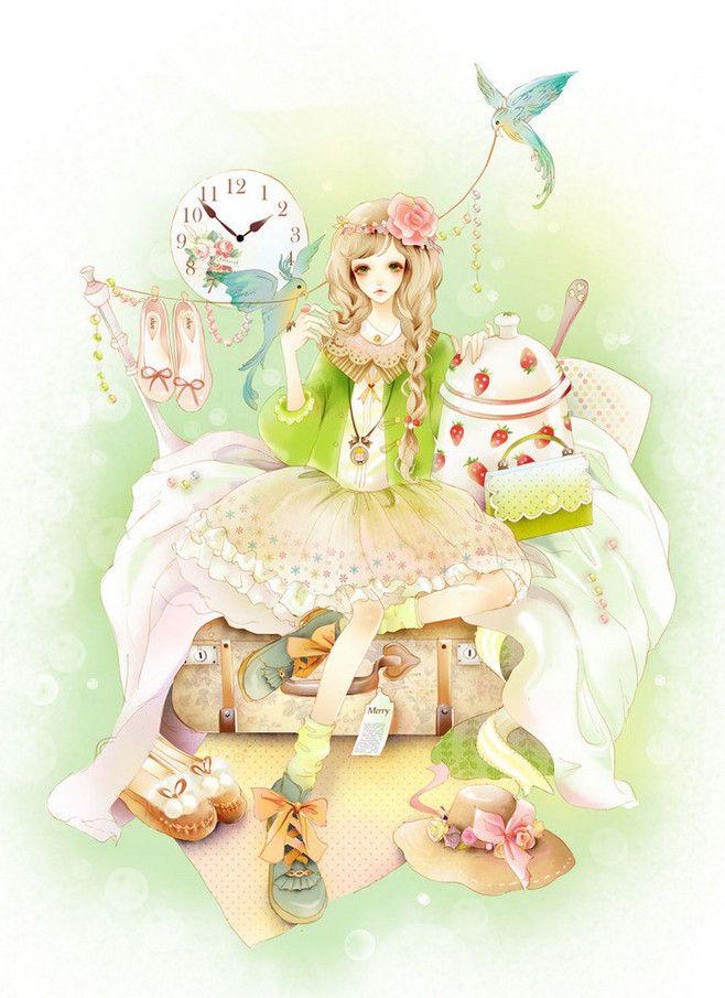 小清新なイラスト 緑の服の少女アニメ 綺麗な鳥 春旅行