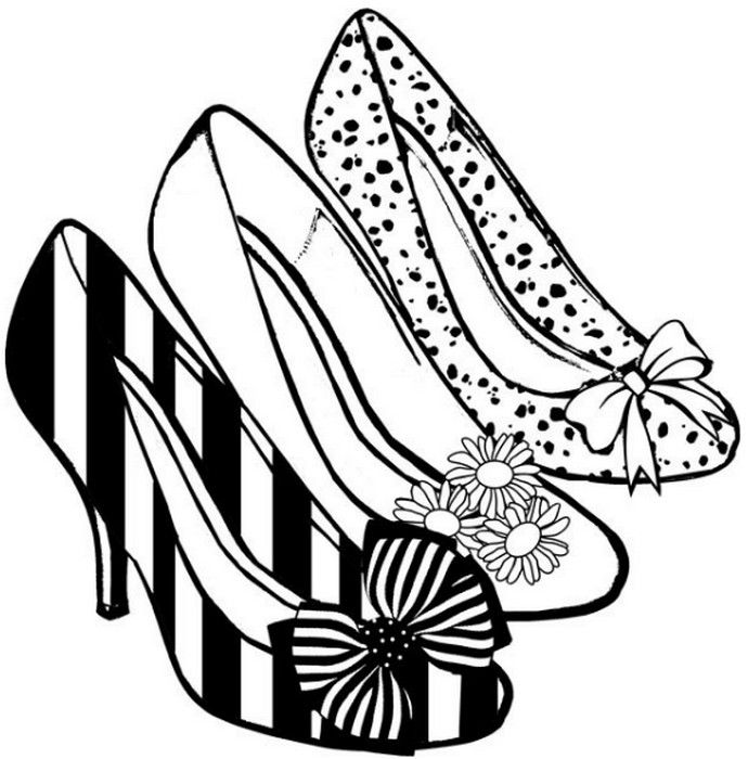 High Heels Coloring Pages Shoes Clipart Shoe Art