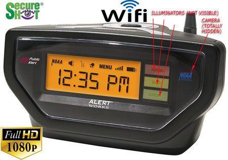 SecureShot HD Live View Weather Alert Alarm Clock Radio