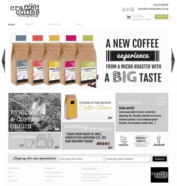 Unique home page website design idea for micro roaster eCommerce ...