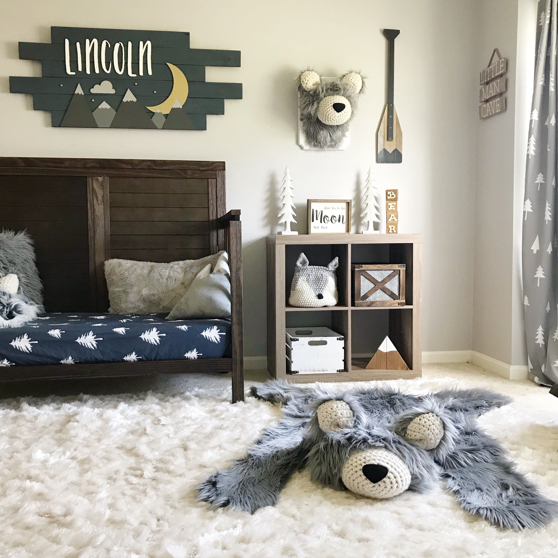 Nursery Rug Regular Size Gray Bear