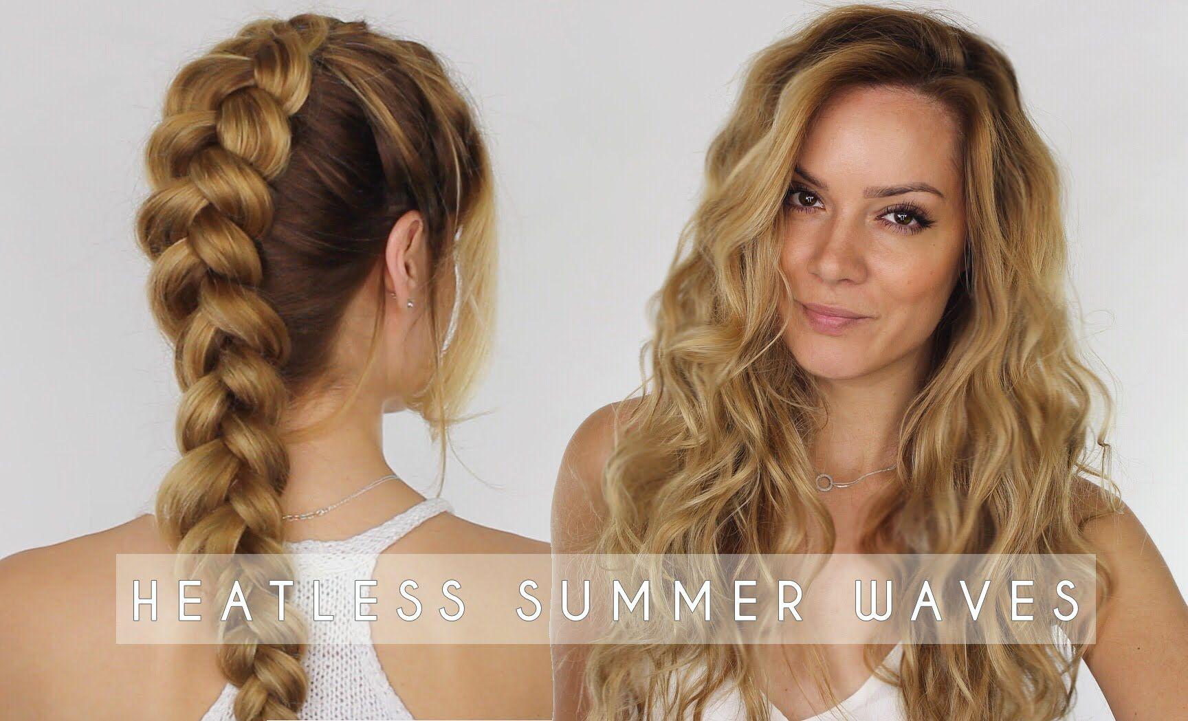 Waves Hairstyle Heatless Summer Waves Hair Tutorial  Dutch Braid Hair Tutorial