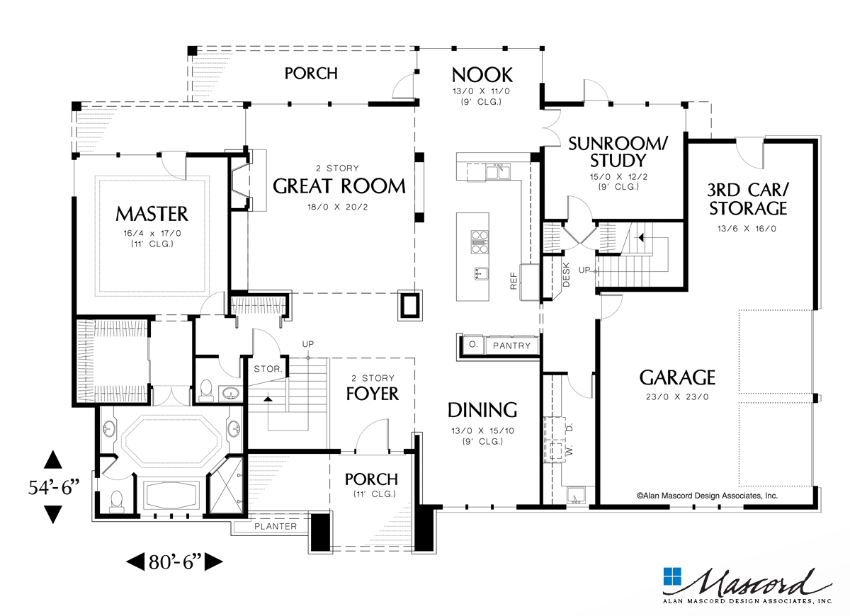 Mascord House Plan 2358 The Holwell Main Floor Plan In 2020 Tiny House Floor Plans House Floor Plans Mediterranean Style House Plans