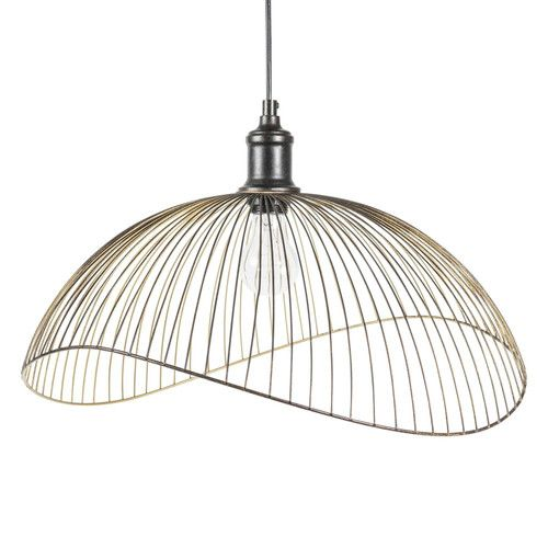 Suspension lamp with very fine metal frame black d 48 cm phaona
