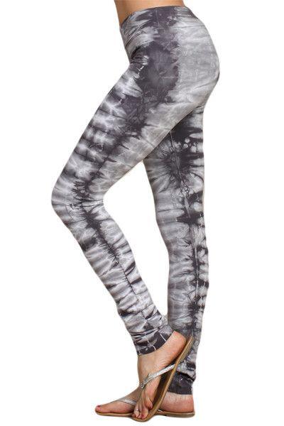 b35856b2a57c0 Womens Sexy Gray Tiger Stripe Tie Dye Print Skinny Leg Leggings Tights Yoga  Pants