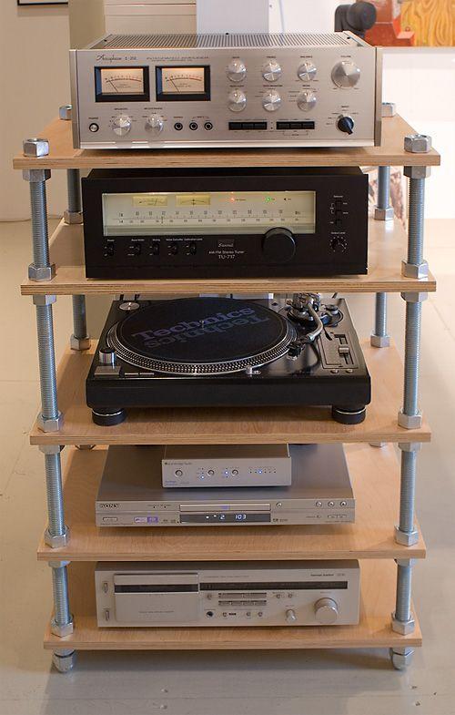 plywood shelving threaded rod hifi rack audio rack pipe furniture industrial furniture