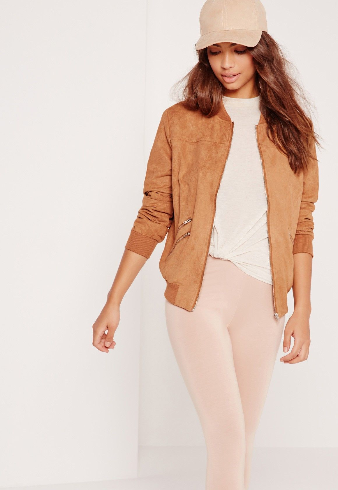 Missguided Faux Suede Zipped Bomber Jacket Tan Bomber Jacket Outfit White Skinny Pants Suede Bomber Jacket [ 1680 x 1160 Pixel ]