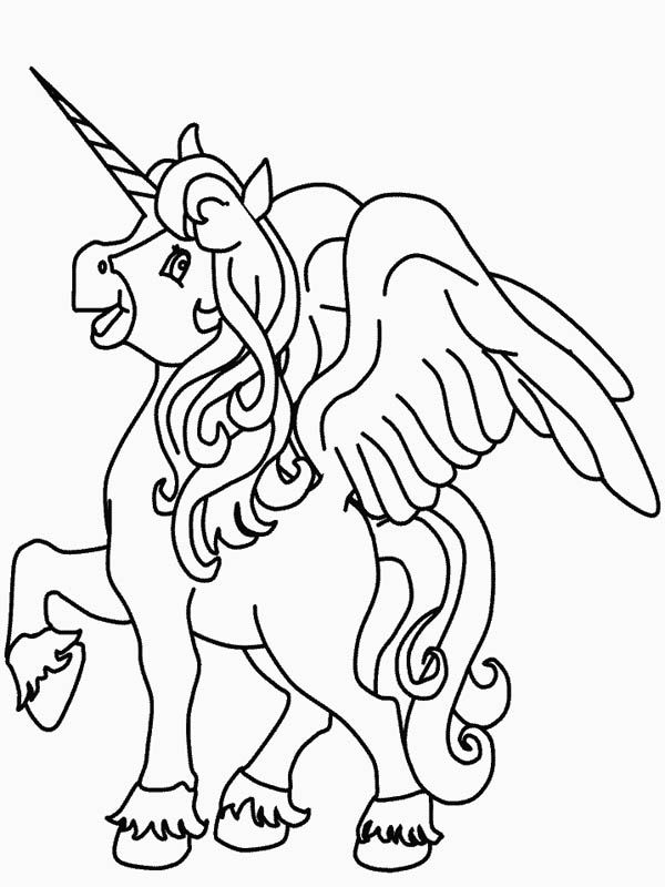 This Funny Winged Unicorn Making A Clip Clop Sound Coloring Page