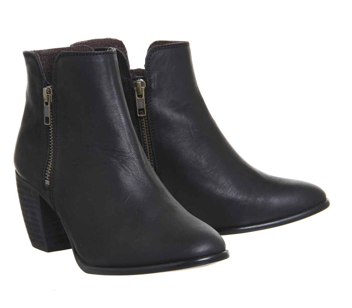 Outlet Store Women Office Justine Double Zip Boots Black Leather Ankle Boots
