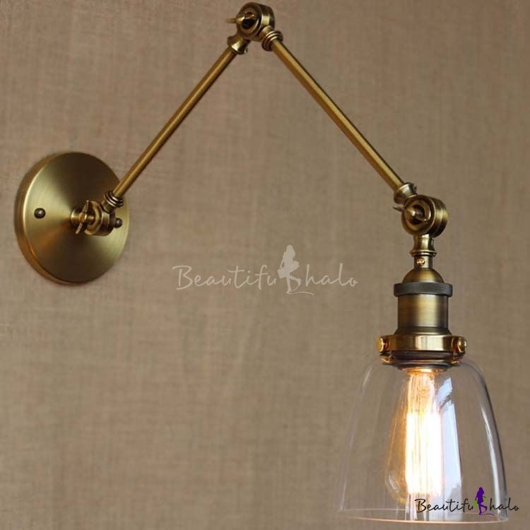Burnished Brass 1 Light Down Lighting Adjustable Mini Wall Light - Beautifulhalo.com