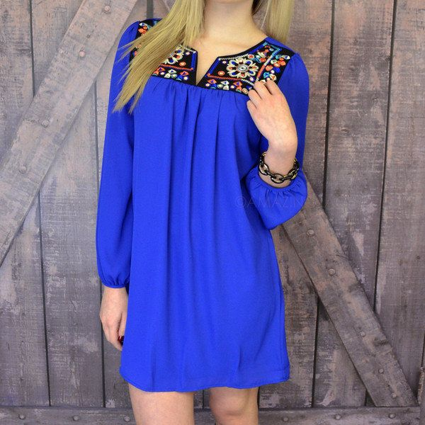 Pollen Petals Royal Blue Embroidered Dress on Wanelo... cute with cowgirl boots!!
