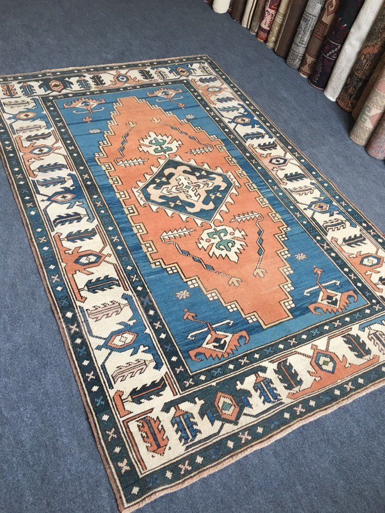 Distressed Rugs 4 6x7 3 Ft 141x224 Cm Turkish Blue Color Rug