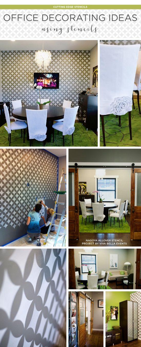 Office Decorating Ideas Using Stencils Diy Stencil Repurpose