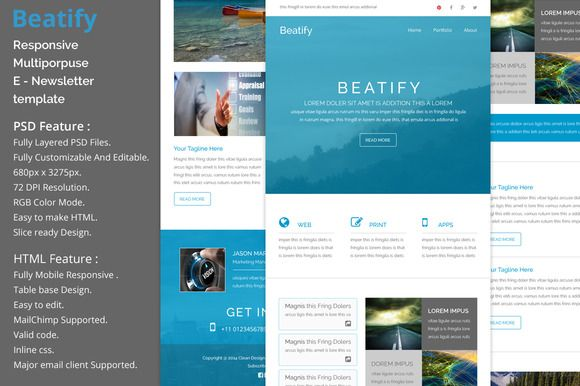 Beatify Responsive Email Template Pinterest Responsive Email - Mailchimp psd template
