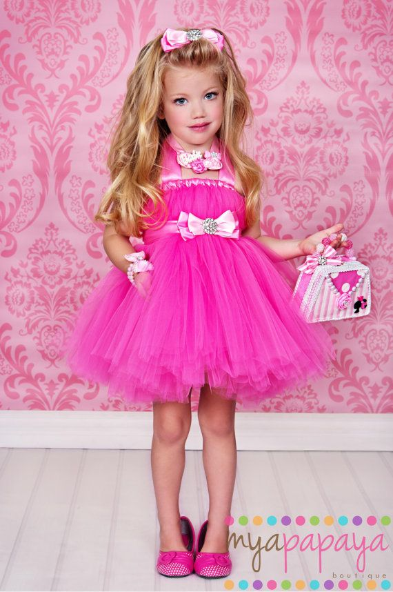 Barbie Inspired Costume Tutu Dress 12months 5t Matching Hair Bow