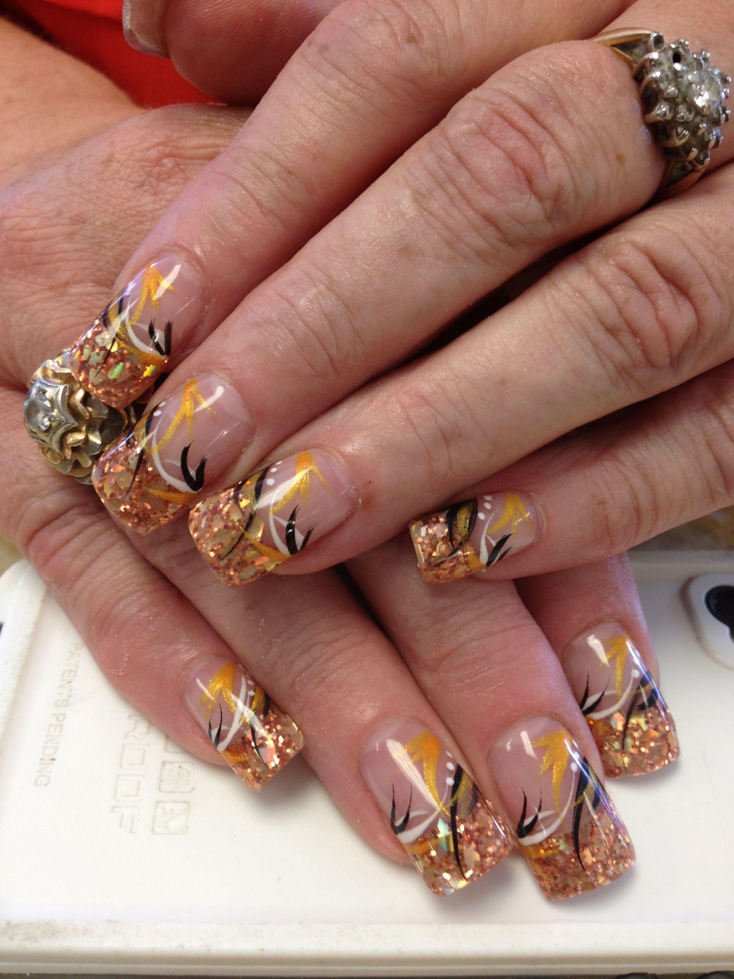 Solar Nails Gold Sparkle Tips And Design Solar Nails Nail Art Simple Nail Designs