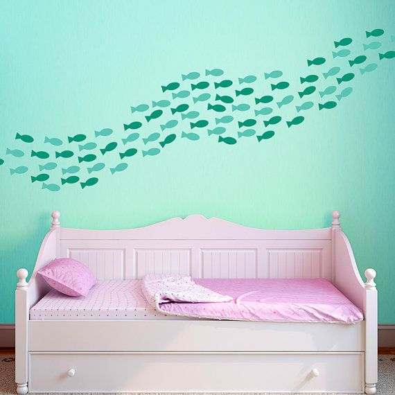 Fish Wall Decals   School Of Fish Decals   Fishies Wall Mural Decal   Under  The Sea Wall Decals ...