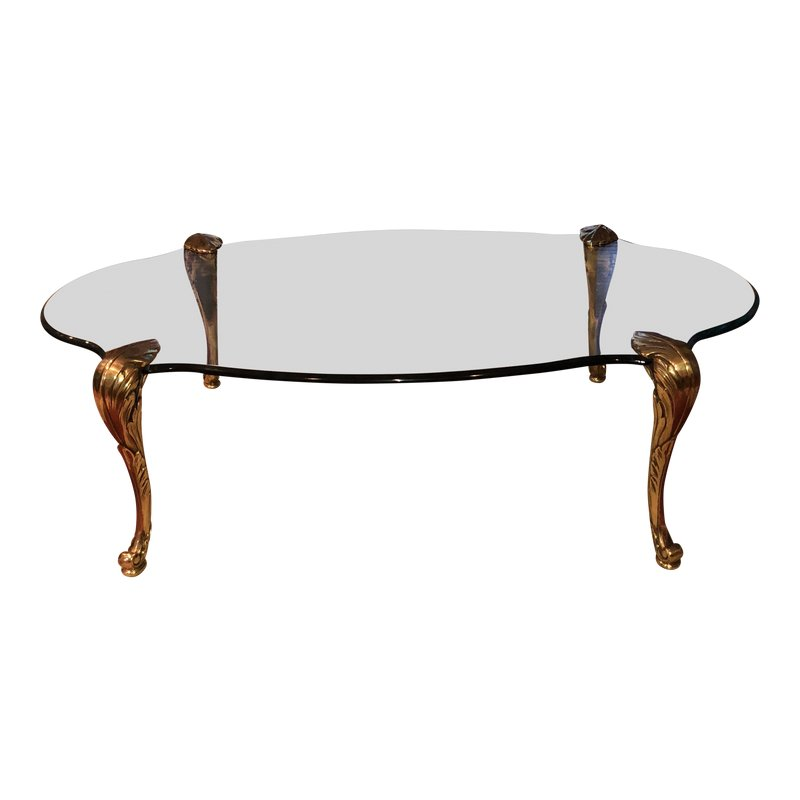 Maison Charles Serpentine Bronze And Glass Coffee Table