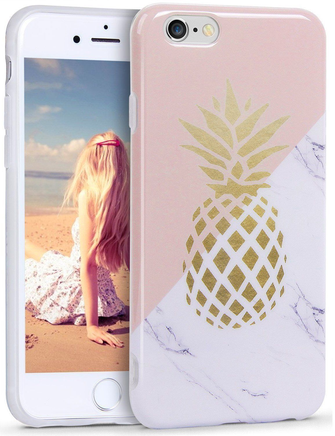 Cases Cute Pink Phone Plus 7 Marble Iphone