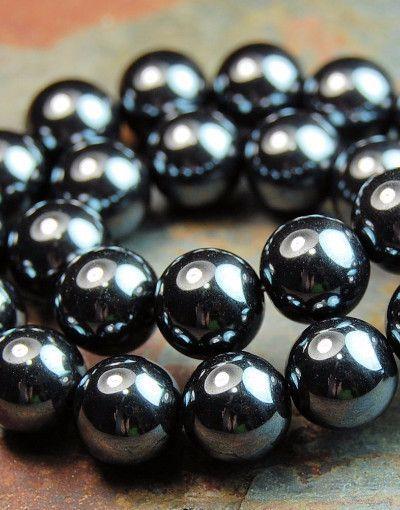 8mm Hemalyke Round Beads in Gunmetal- 16 Inch Strand