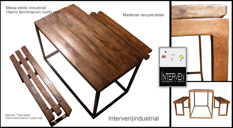 Mesa estilo industrial mas bancos muebles interven for Mesas estilo industrial