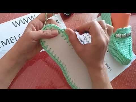 db0de2bbe7928 Kolay bademli dantel patik yapımı (kolay gelin patiği, kolay çeyizlik patik  yapımı, bademli patik) - YouTube