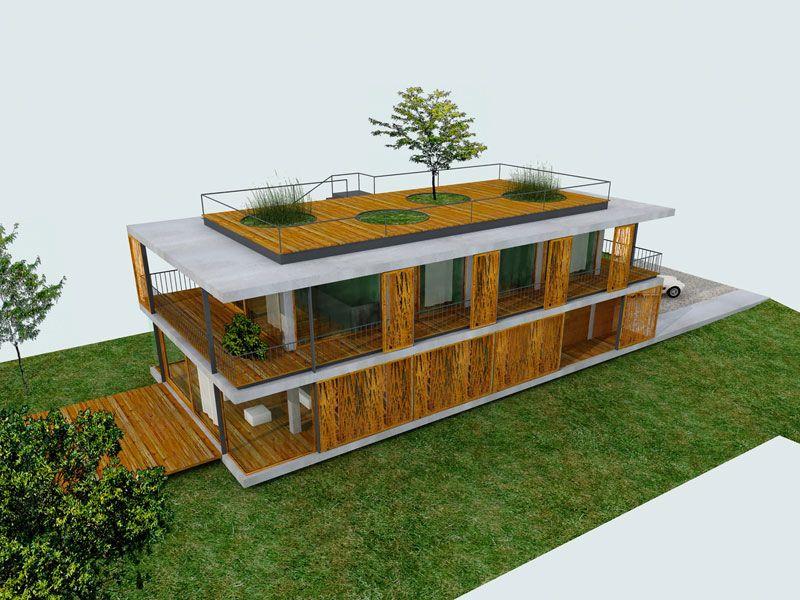 Plans d 39 une maison contemporaine avec toit terrasse for Maison jardin terrasse 3d