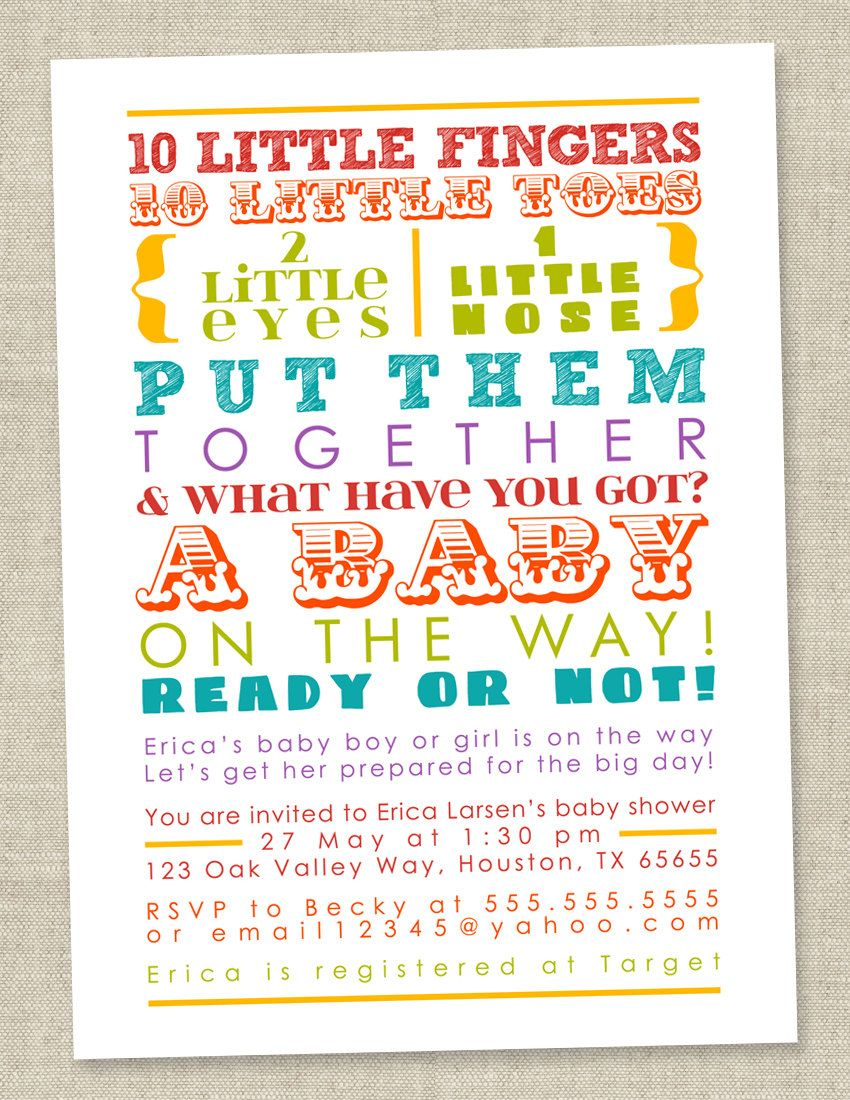 Rainbow Baby Shower Invitation - colorful words, gender neutral ...