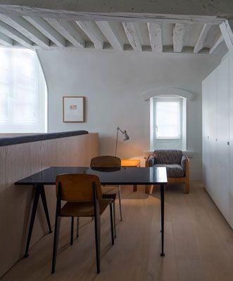 Francesc Rifé Studio Apartment in Paris, study, Jean Prouve chairs, vintage, wood, beams
