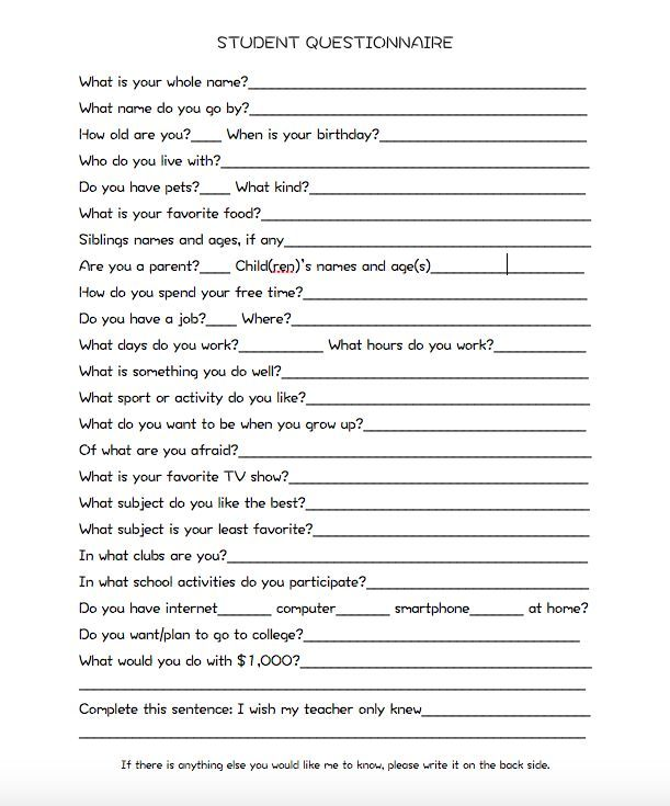 Image result for student questionnaire secondary school - free questionnaire template
