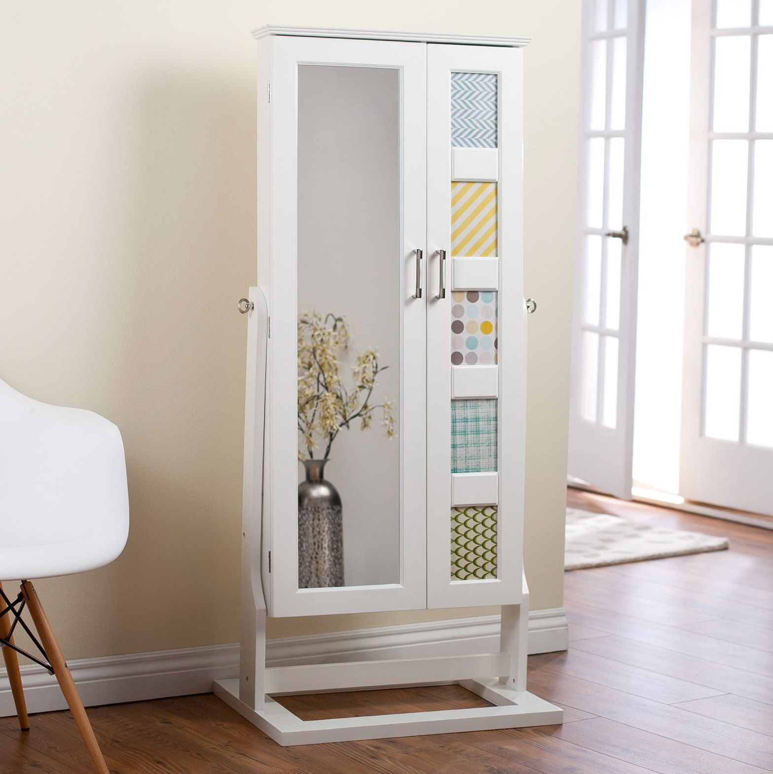 white wooden full length mirror jewelry armoire with chic ...