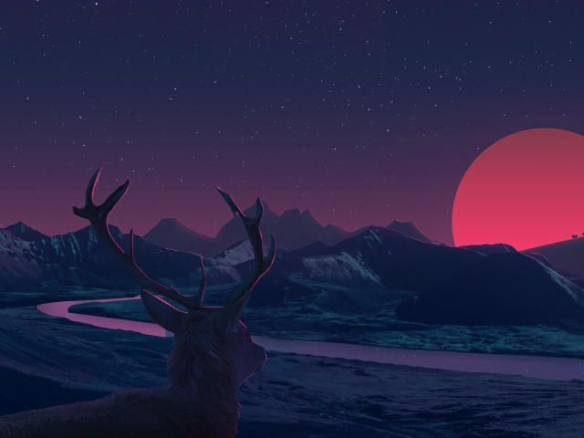 Deer Staring At Sunset Anime Wallpaper, HD Fantasy 4K Wallpapers, Images, Photos and Background