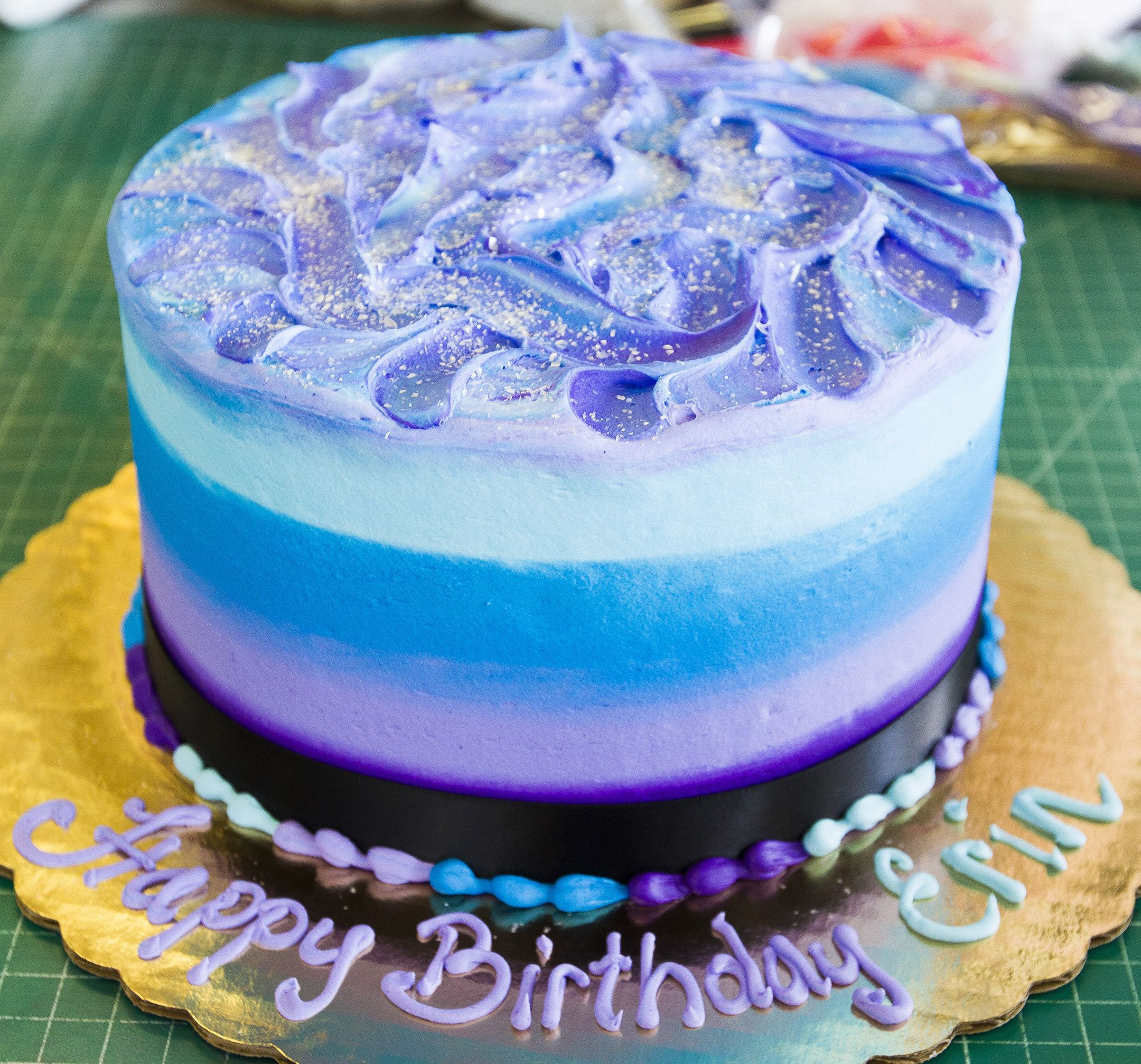 Purple And Blue Textured Ombre Birthday Cake Cake 105
