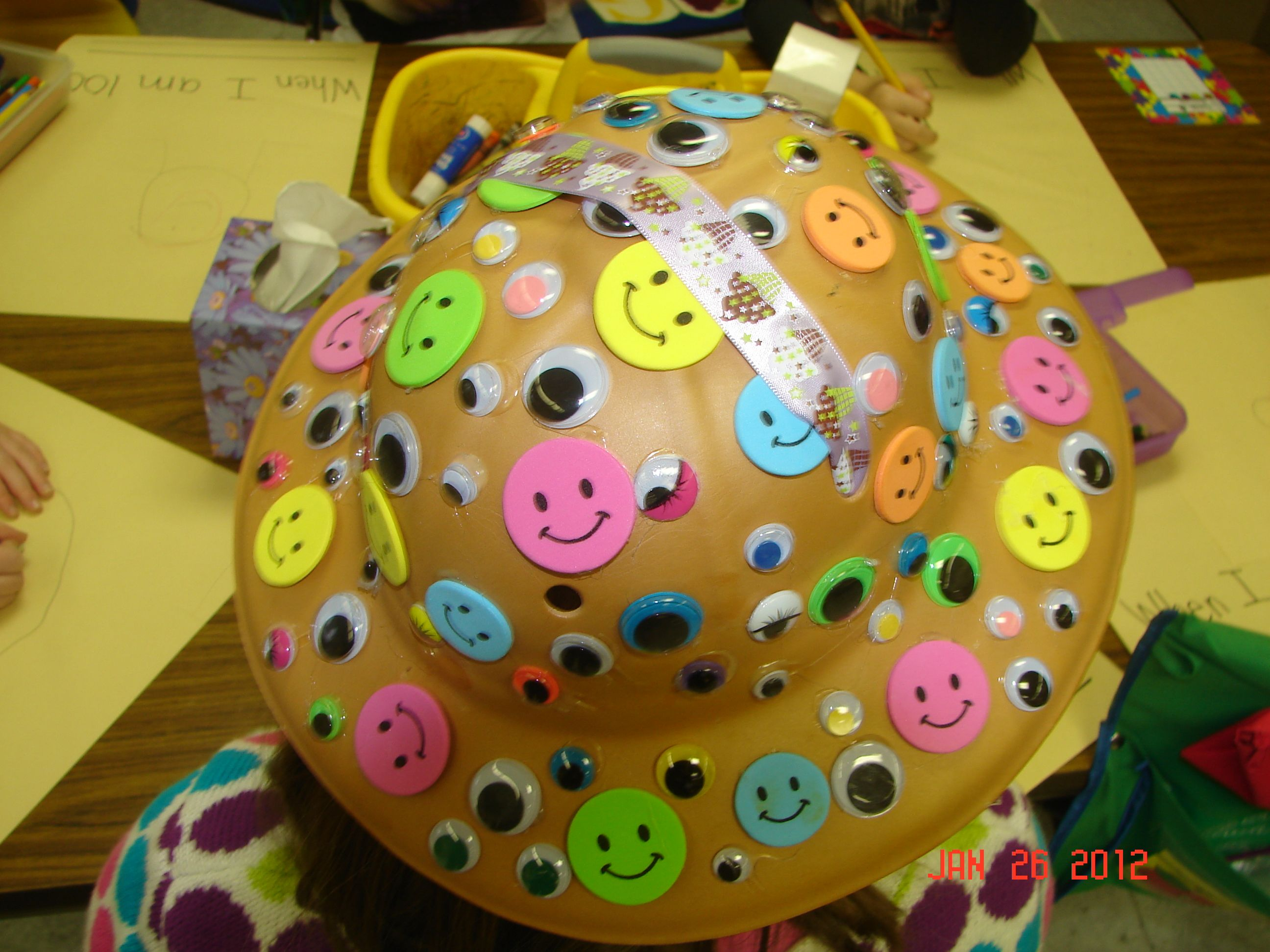 Students in my kindergarten class decorated hats with 100 for 100th day of school decoration ideas