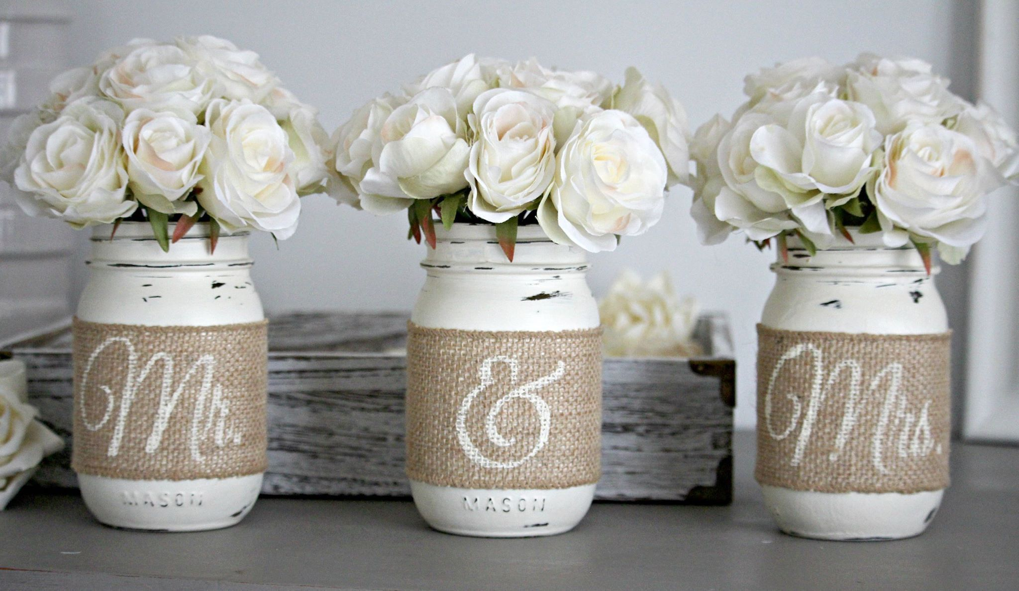 rustic wedding table decor,rustic bridal & engagement gift | paint