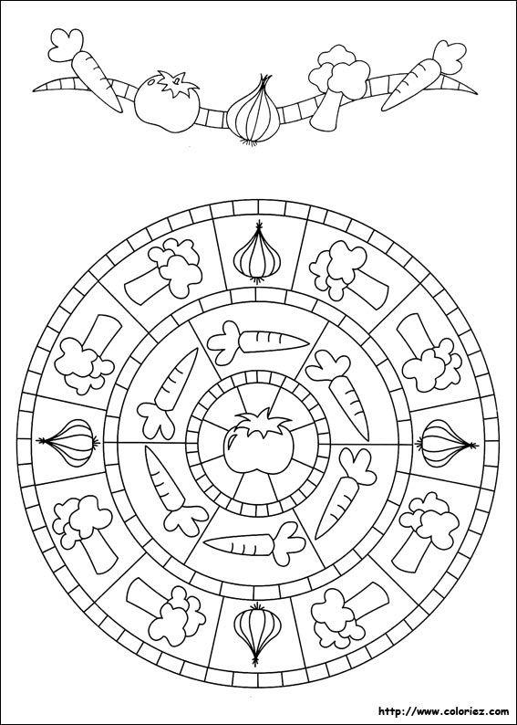 Mandala Légumes Maternelle Mandala à Colorier Coloriage