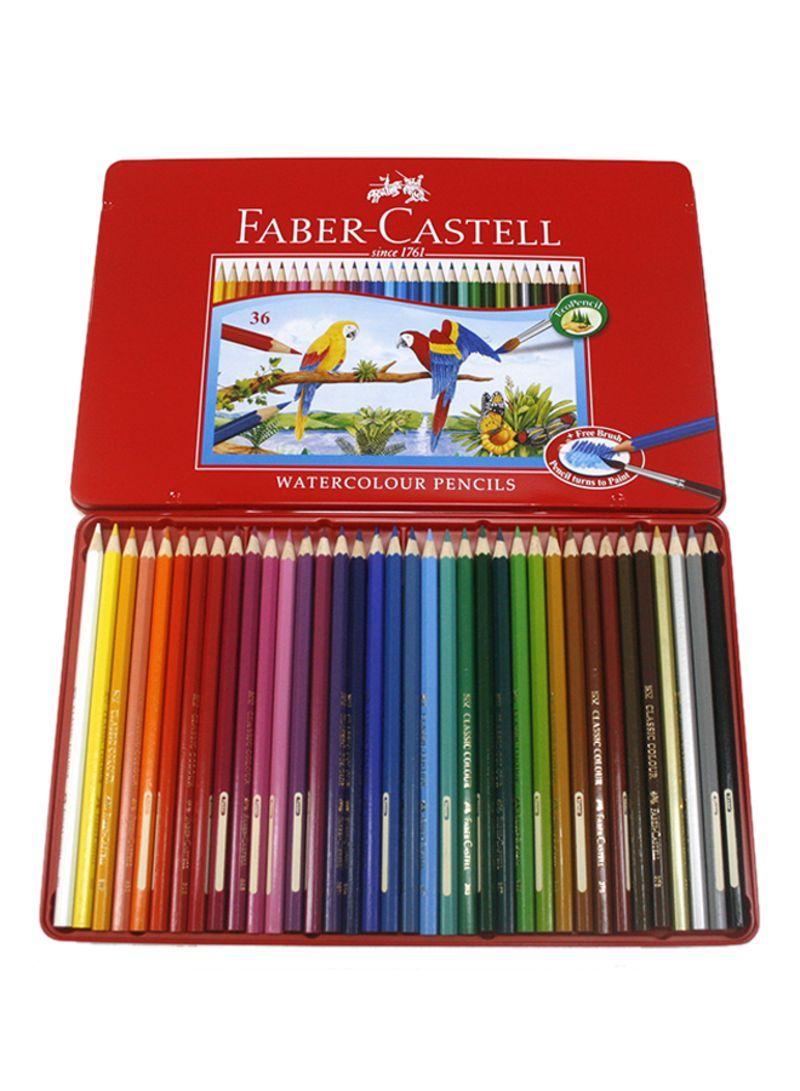 تسوق فابير كاستل وطقم أقلام ألوان مائية مكون من 36 قطعة متعدد الألوان أونلاين في السعودية Colored Pencil Set Water Color Pencil Colored Pencils