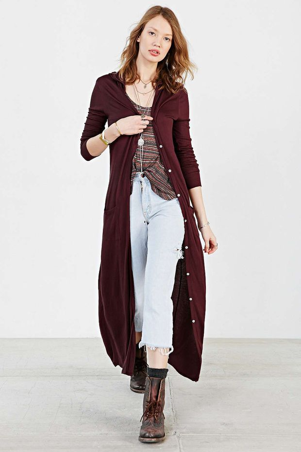 Casual Hooded Button Down Maxi Dress | Things to Wear. | Pinterest ...