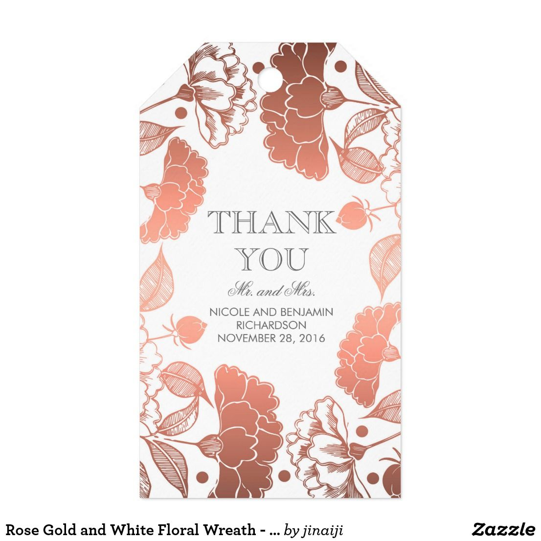 Rose Gold and White Floral Wreath - Wedding Gift Tags | Favors and ...