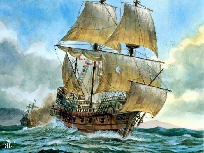 painting of a ship sailing.
