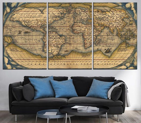 Old World Map Canvas Panels Set Large Ancient World Map | World map ...