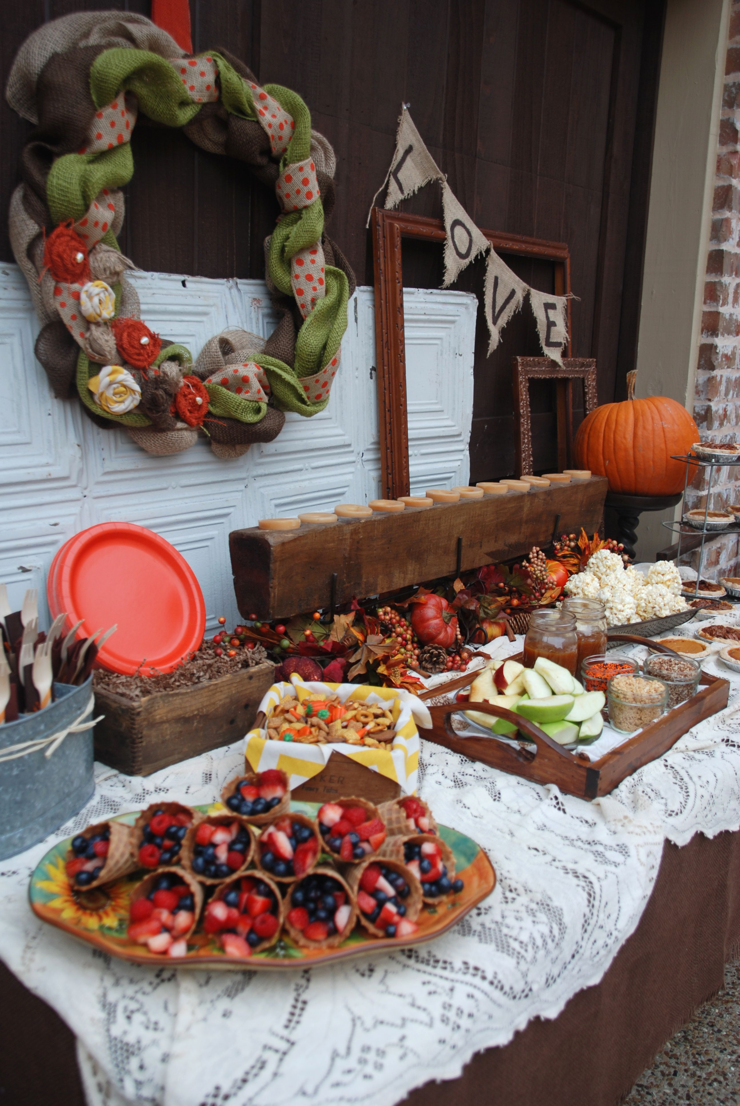 Fall Themed Food Table Baby shower fall