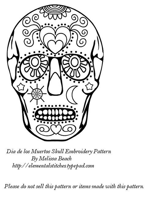 Dia de los Muertos Embroidery Pattern | Dia de, Sugar skulls and ...
