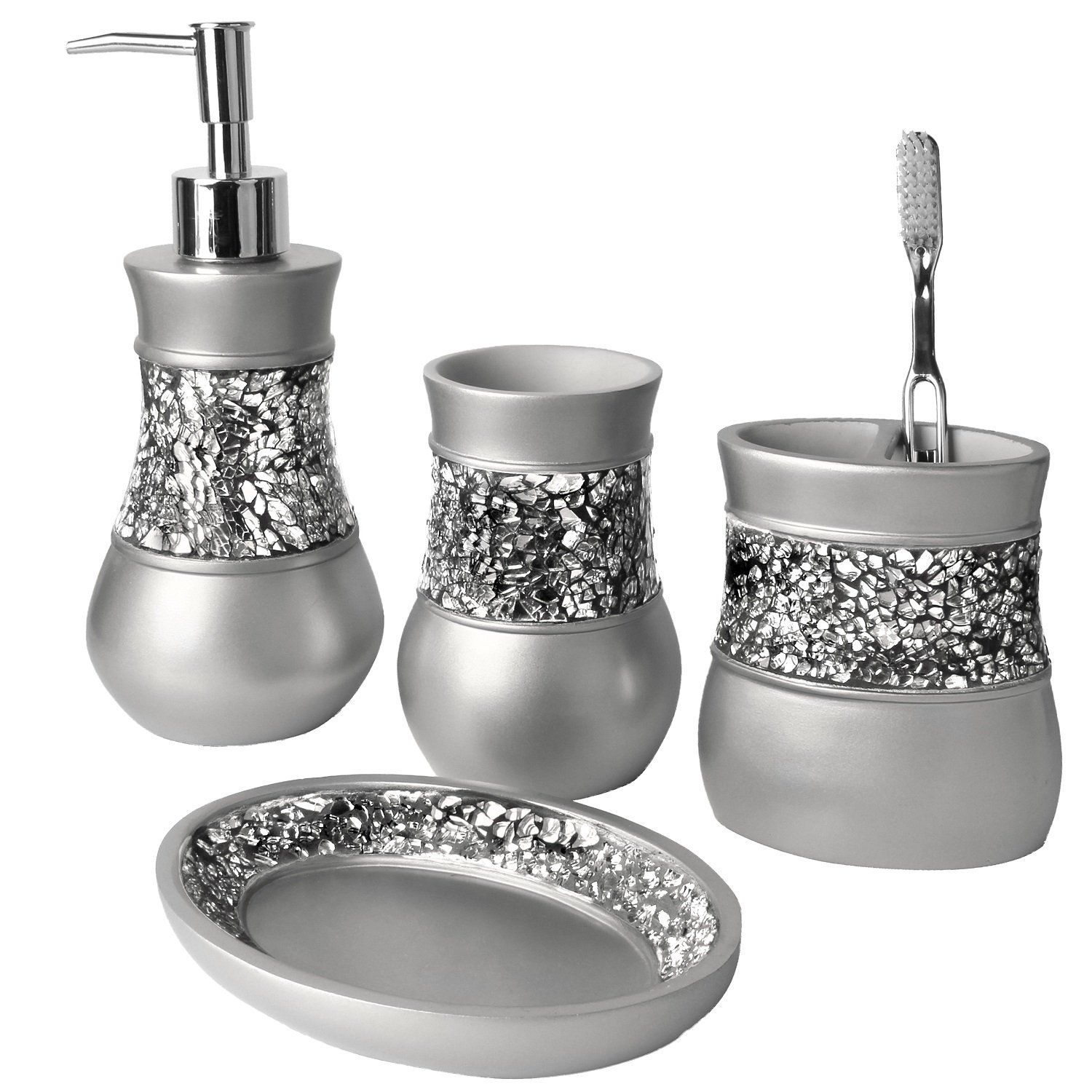Creative Scents Brushed Nickel Bath Ensemble Piece Bathroom - Gray bathroom accessories set for bathroom decor ideas