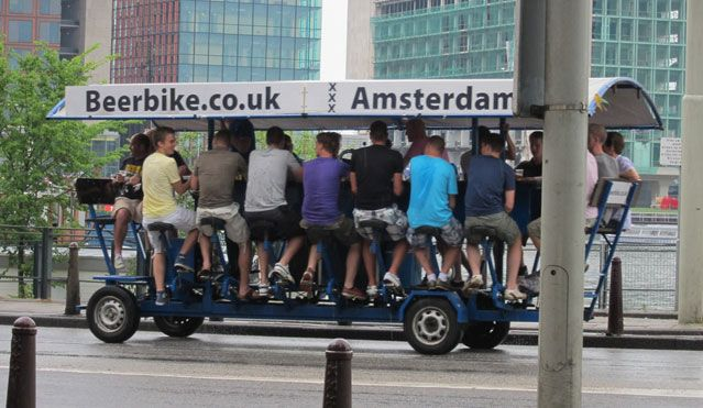 Biking and drinking with 16 of your buddies? Beerbikes in Amsterdam, Holland.