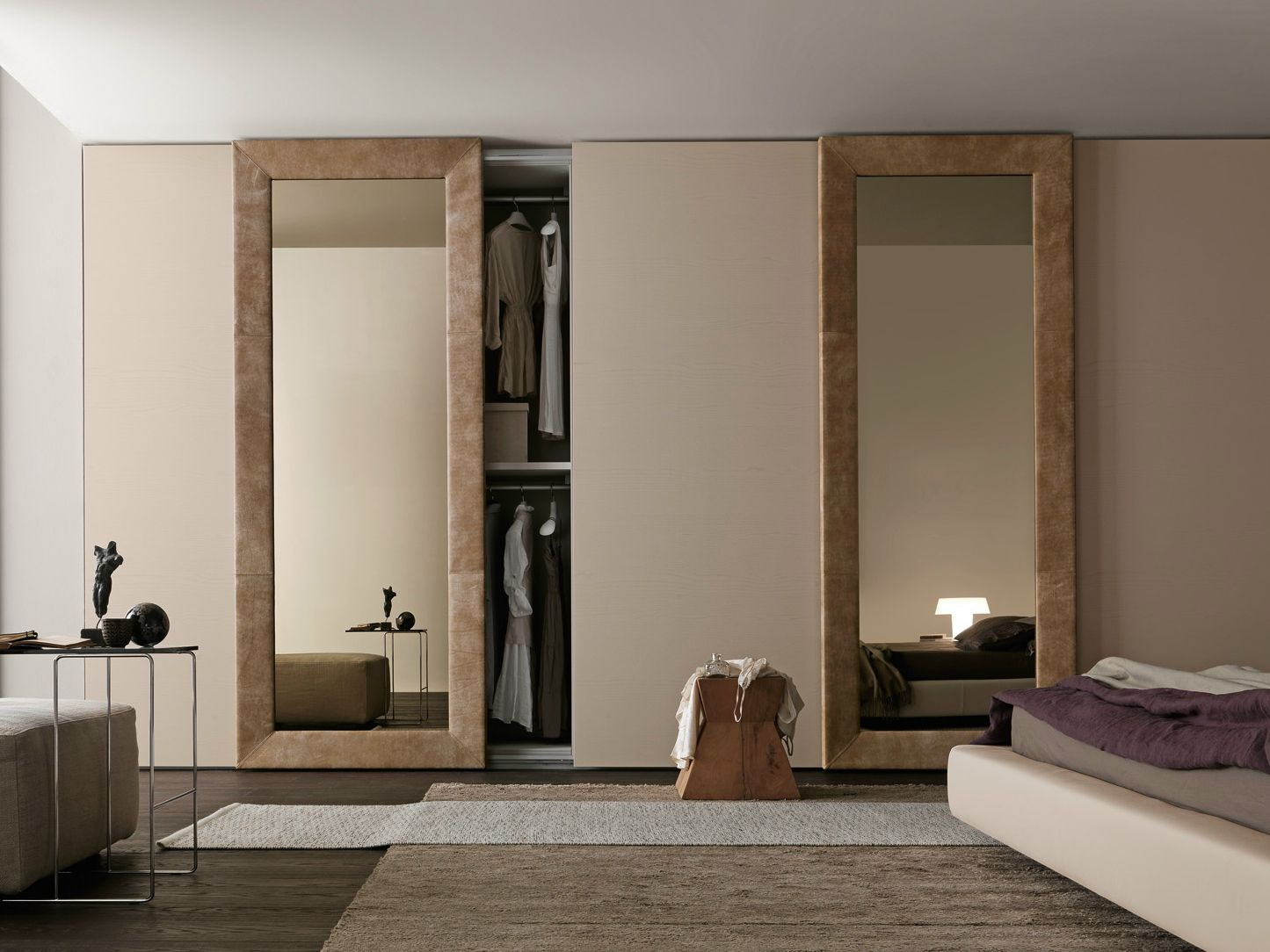 Wardrobe With Liscia Sliding Doors In Corda Color Wood And Mirror Door With  Bronze Mirror,