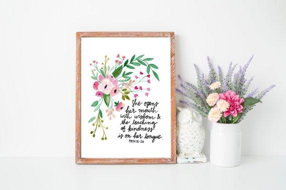 watercolour flowers home decor, Bible verse art print