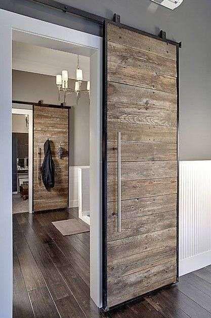 Come arredare il bagno in stile naturale - Porta scorrevole in legno ...
