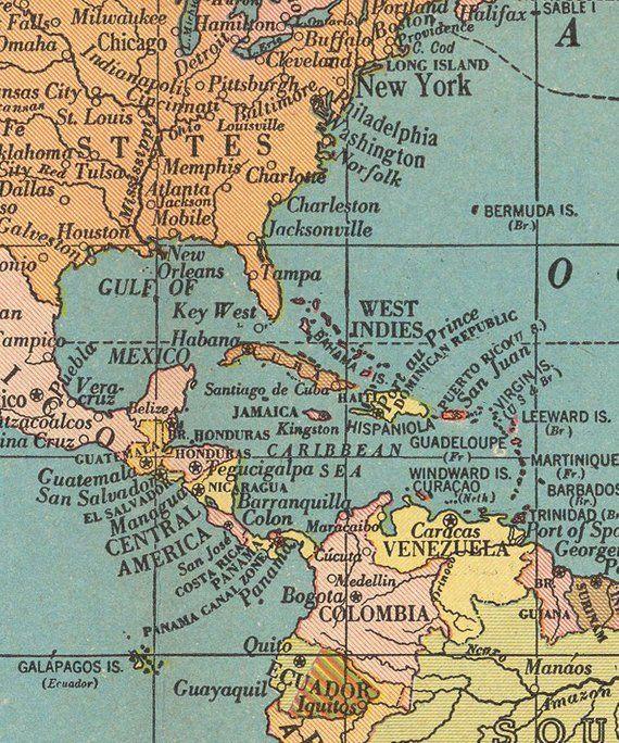 World map printable digital download. 1930 Vintage World Map. Old ...