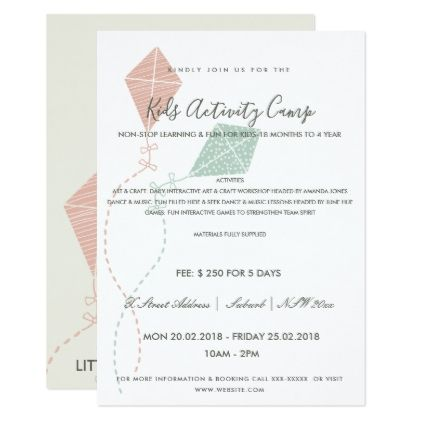 Pink blue kite kids activity class invite template Kid activities - kite template